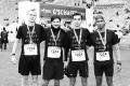 MARATHON MÜNCHEN 2017 SUGAR & PAIN TEAM Run Four Good mit Speed, Spirit und viel Spass / Team I ist stolz auf den 9. Platz mit Sami, Patrick, Simon und Gary (v.l.n.r.) © Stefan Drexl