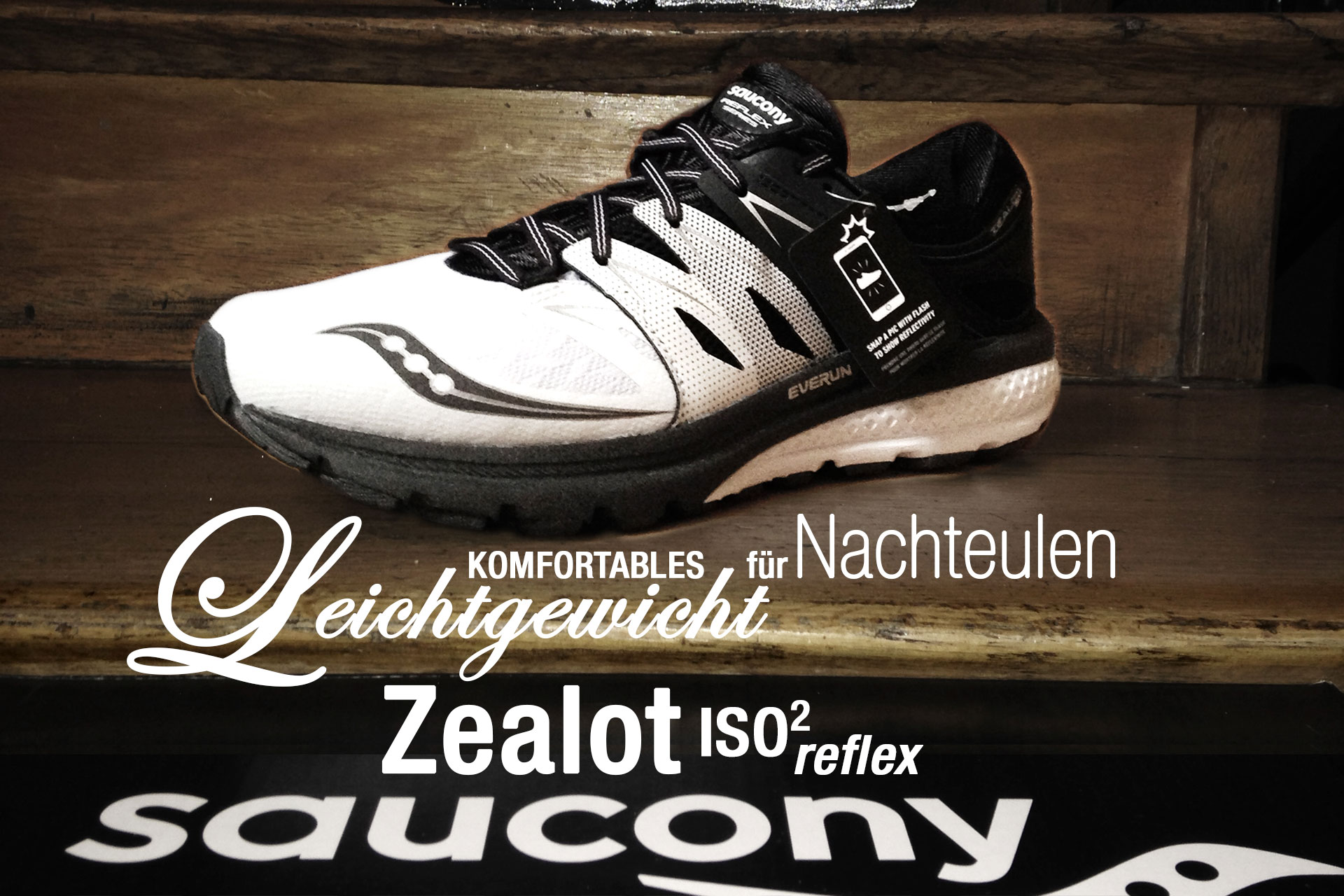 SAUCONY Zealot ISO 2 Reflex: Komfortables Leichtgewicht für Nachteulen / TITEL Eleganter Lightweight Trainer in Black-and-White mit optischem Highlight für die Dunkelheit