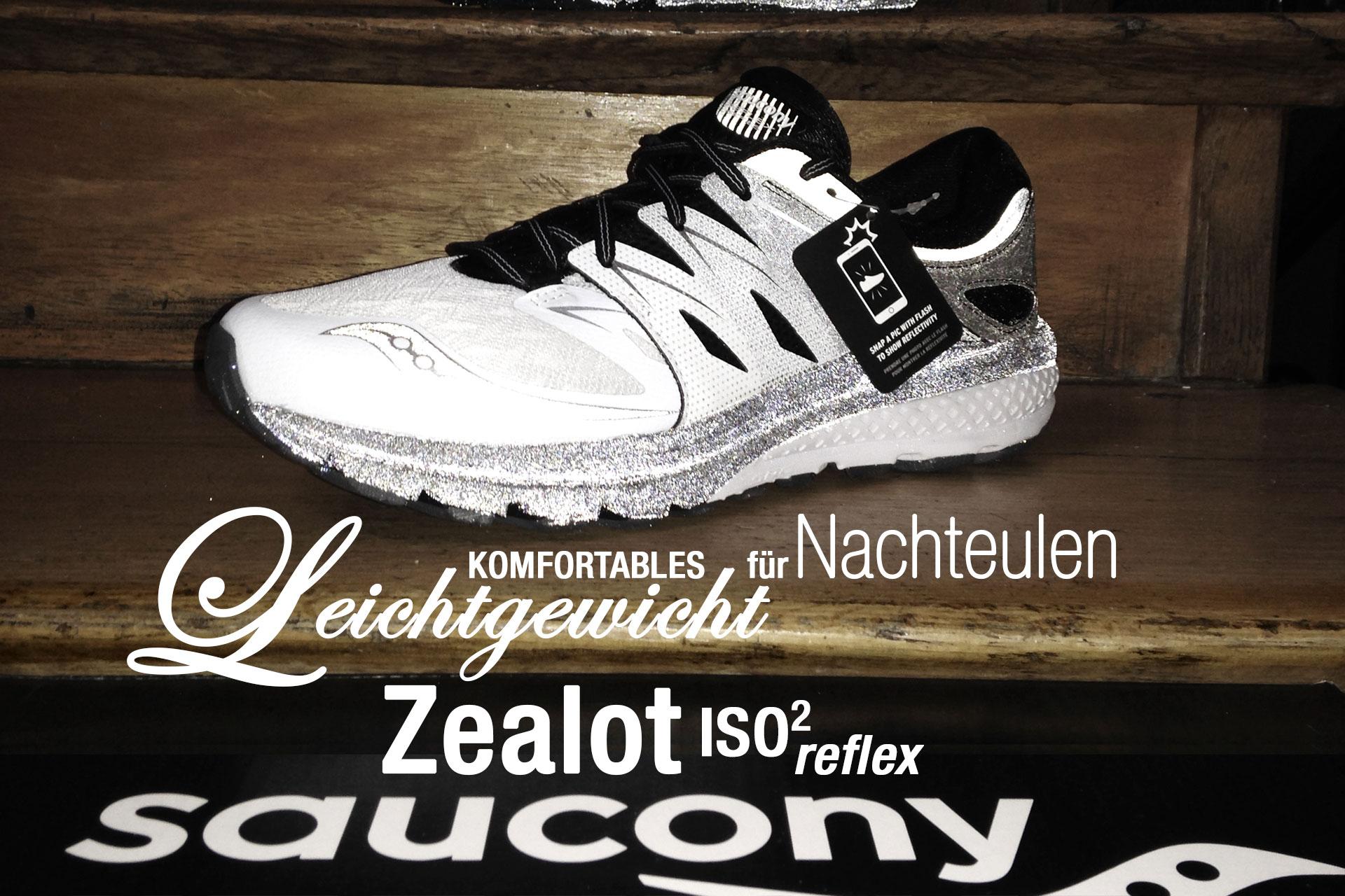 SAUCONY Zealot ISO 2 Reflex: Komfortables Leichtgewicht für Nachteulen / TITEL Der elegante Lightweight Trainer in Black-and-White ist rundum reflektierend inklusive seiner Mittelsohle, so dass man bei Nachtläufen im Scheinwerferlicht garantiert durch hervorragende Sichtbarkeit heraus sticht.