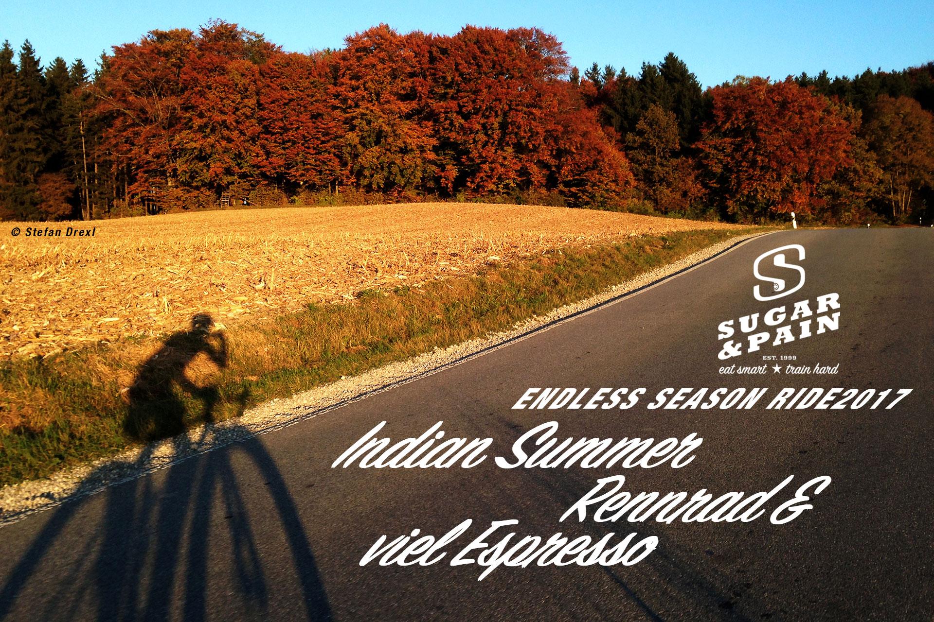 SUGAR & PAIN ENDLESS SEASON RIDE 17 Indian Summer, Rennrad und viel Espresso / Großartige Colour Story und Schattenspiele auf dem Heimweg © Stefan Drexl