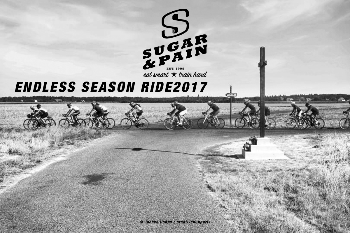 SUGAR & PAIN Endless Season Ride 2017 - Athletes & Friends / Das Gruppetto beim Social Ride der Nicolas Werner Challenge über 220 Kilometer von Paris-Levallois nach Cabourg © Jochen Hoops / creativehubparis