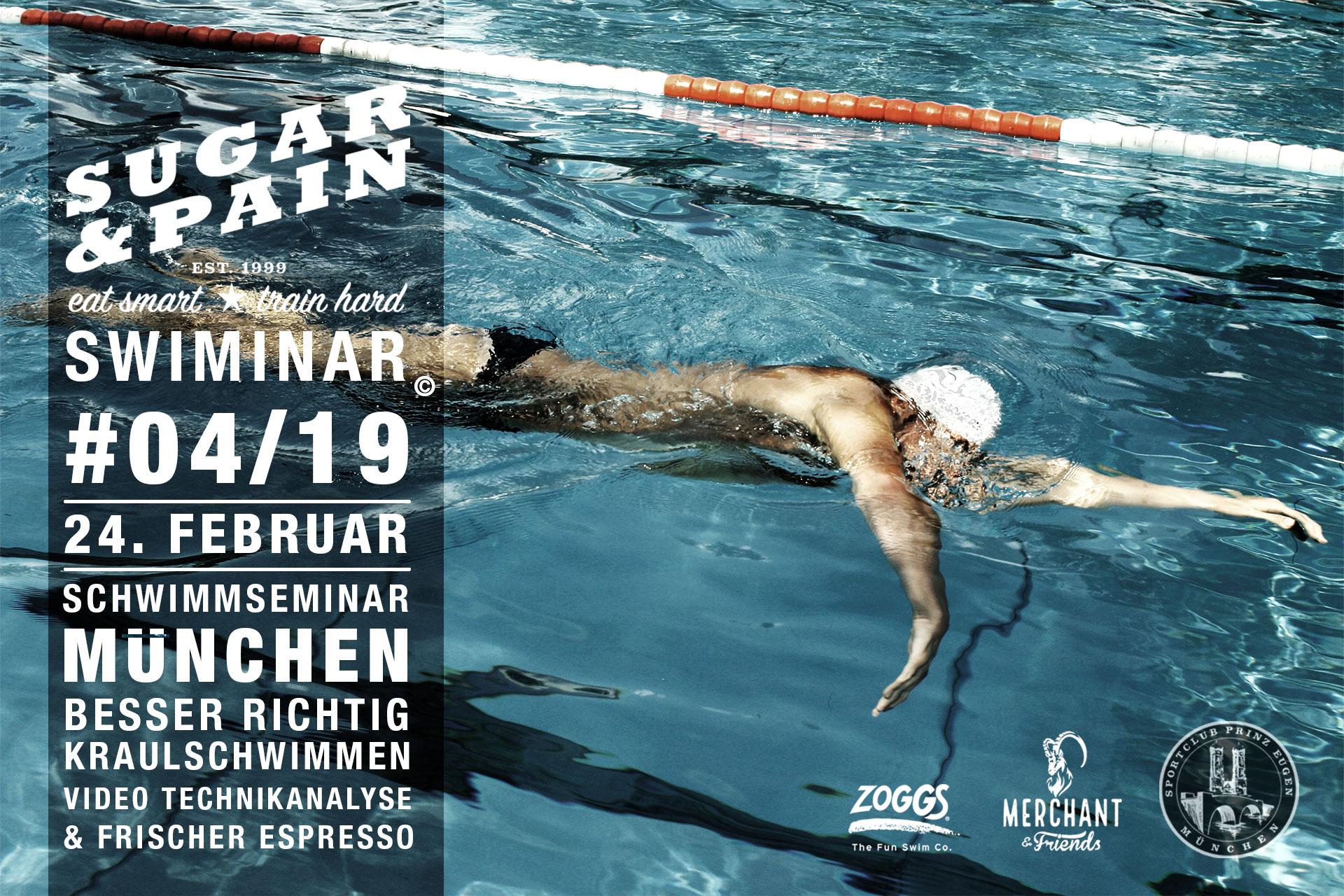 SUGAR & PAIN SWIMINAR #04/19 Starter – Das Schwimmseminar mit Videoanalyse für richtige Kraultechnik - Flyer