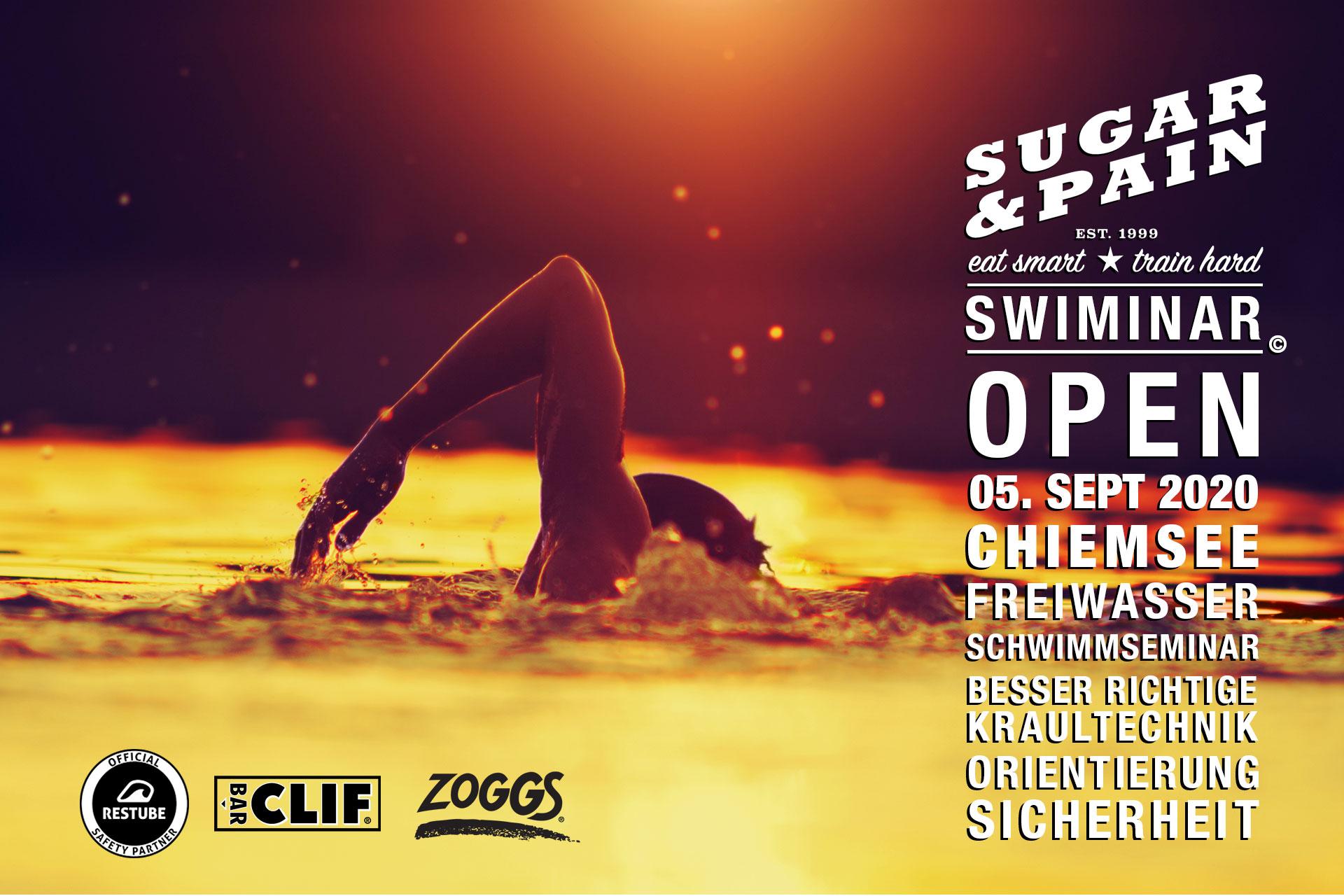 SWIMINAR #OPEN Chiemsee 03/20 Freiwasser Schwimmseminar Kraultechnik TITEL © SUGAR & PAIN / Adobe Stock