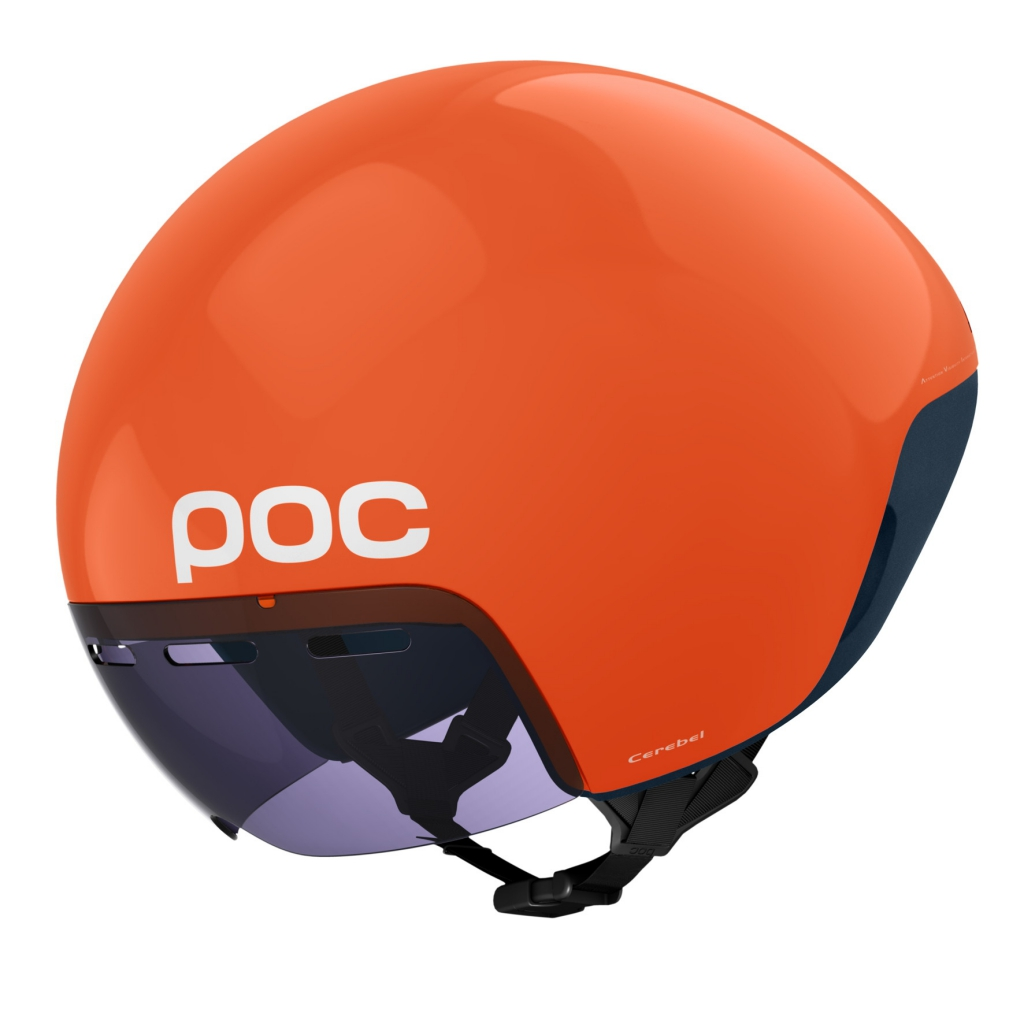POC's neuer Aerohelm Cerebel Raceday für das Zeitfahren und Triathlon mit magnetischem Zeiss Visier wurde in enger Zusammenarbeit mit dem Garmin-Sharp Pro Cycling Team, der Volvo Car Group und dem WATTS Lab entwickelt.
