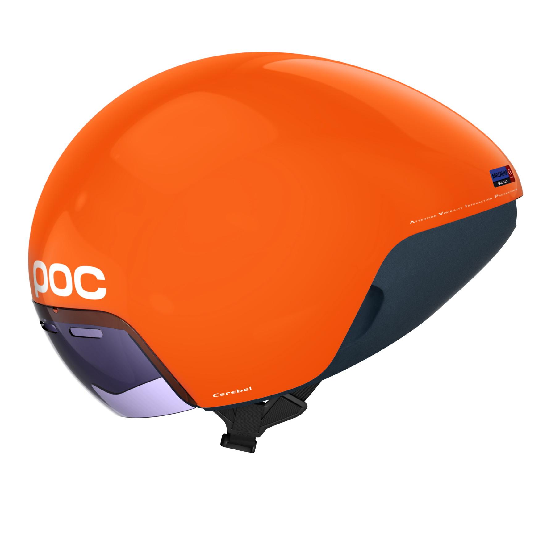 POC's neuer Aerohelm Cerebel Raceday mit magnetischem Zeiss Visier für das Zeitfahren und Triathlon wurde in enger Zusammenarbeit mit dem Garmin-Sharp Pro Cycling Team, der Volvo Car Group und dem WATTS Lab entwickelt.