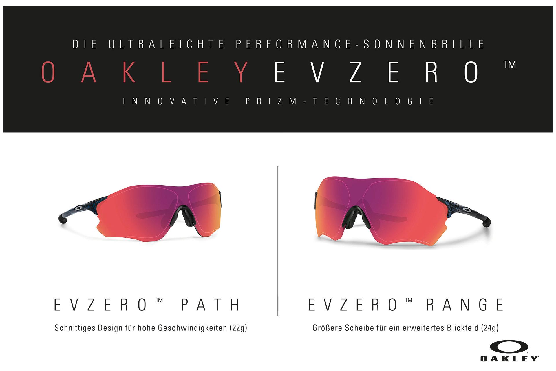 Mit der neuen EVZero Collection präsentiert Oakley seine derzeit leichtesten Sonnenbrillen für Multisport Athleten. Die rahmenlosen Brillen gibt es in zwei verschiedenen Scheibengrößen. Die EVZero path wiegt nur unglaubliche 22 Gramm und die EVZero Range mit grösserem Sichtfeld kommt auf 24 Gramm.