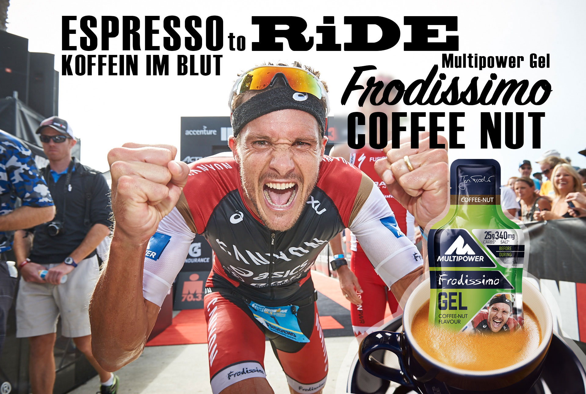 KOFFEIN IM BLUT Espresso to Ride - Multipower Gel Frodissimo Coffee Nut / Keine Kompromisse für Ironman Weltmeister Jan Frodeno © Multipower