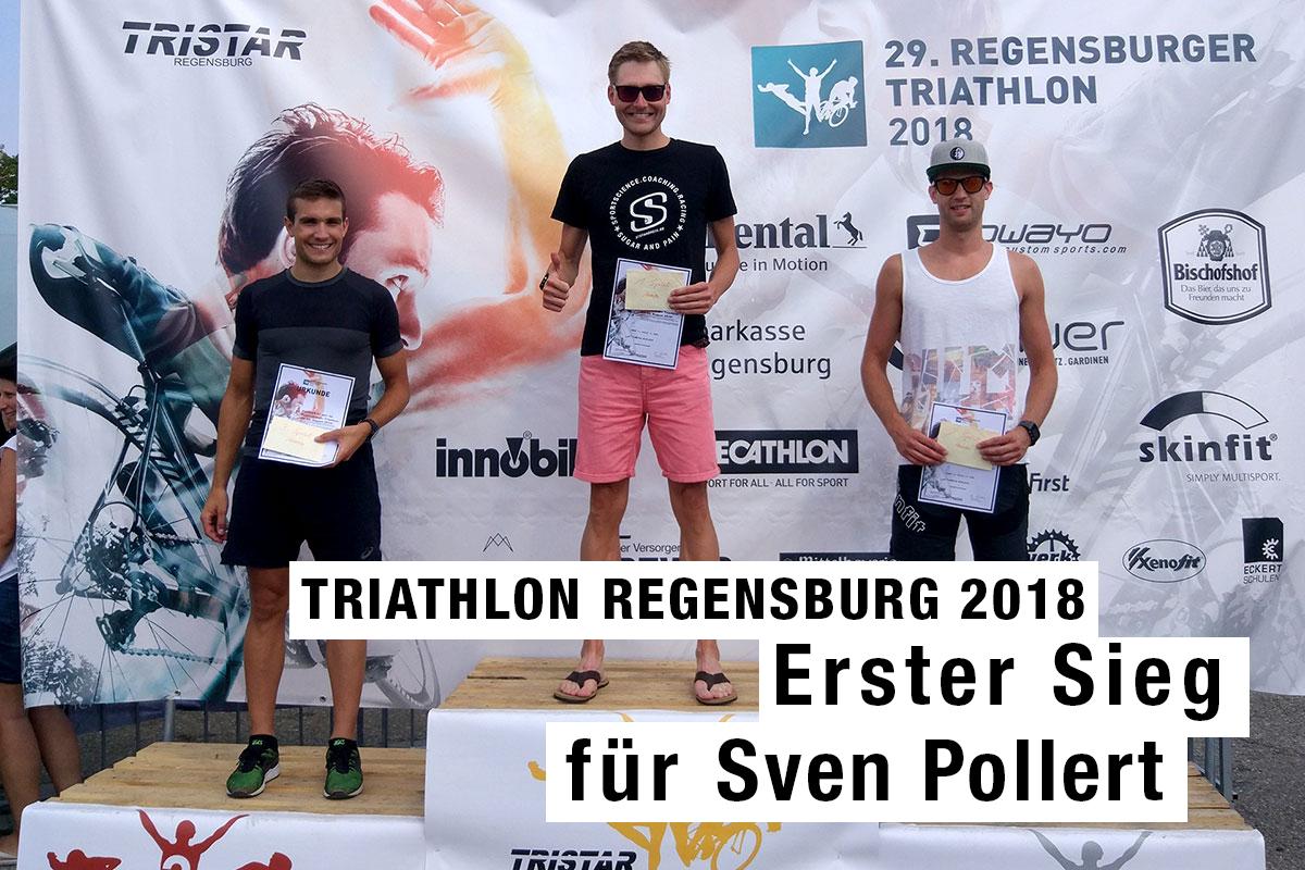 TRIATHLON REGENSBURG 2018 Sven Pollert feiert seinen ersten Sieg / Ganz oben, 1. Platz (von links: Pascal Niklas (3.), Sven Pollert (1.), Manuel Lohr (2.) / FOTO Gabi Pollert