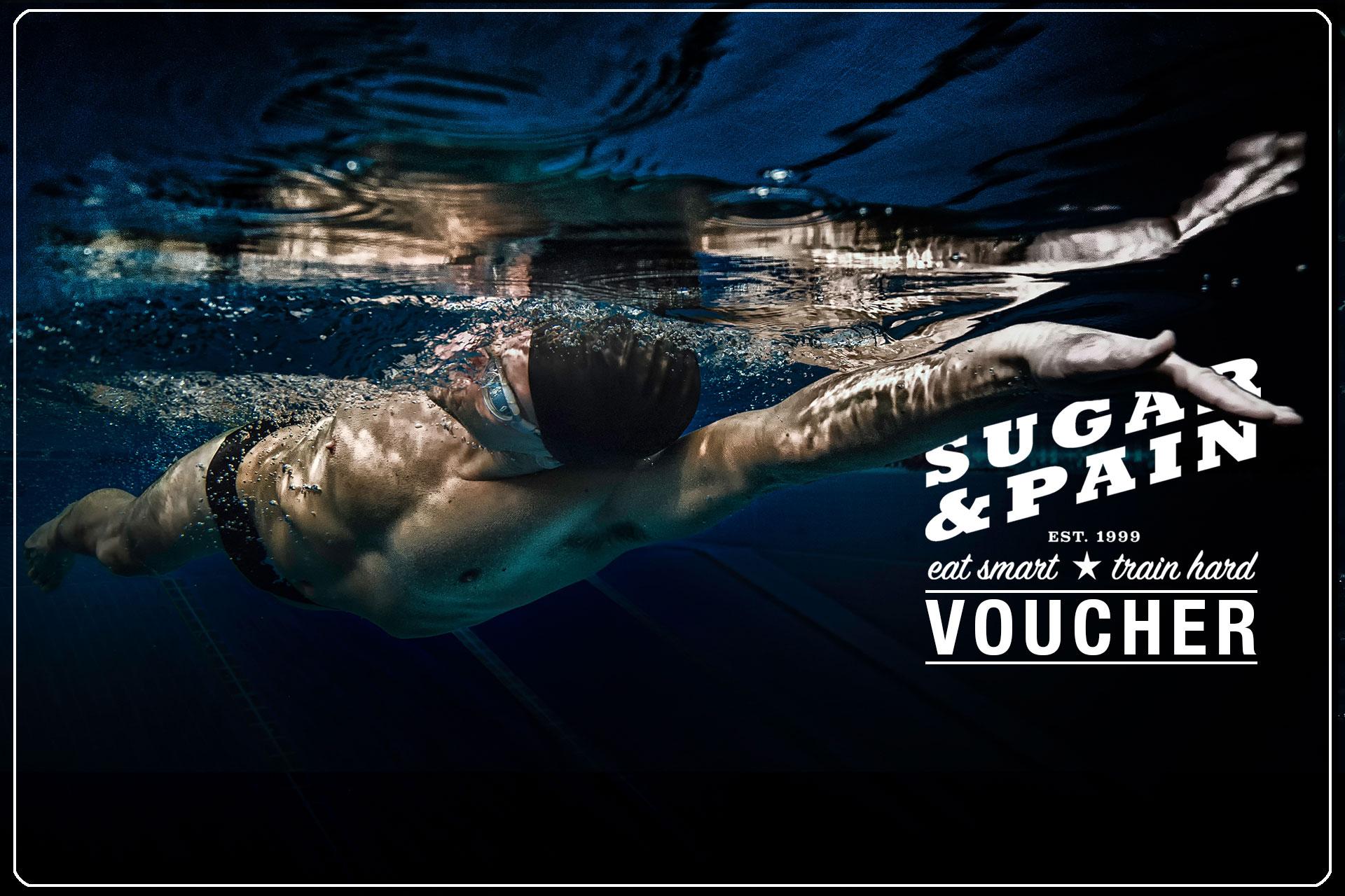 SUGAR & PAIN VOUCHER Besser richtig schenken mit unsreren Triathlon Coaching Gutscheinen für Schwimmseminar, Trainingslager, Ernährungsberatung und vieles mehr … FRONTSIDE © stefandrexl.com