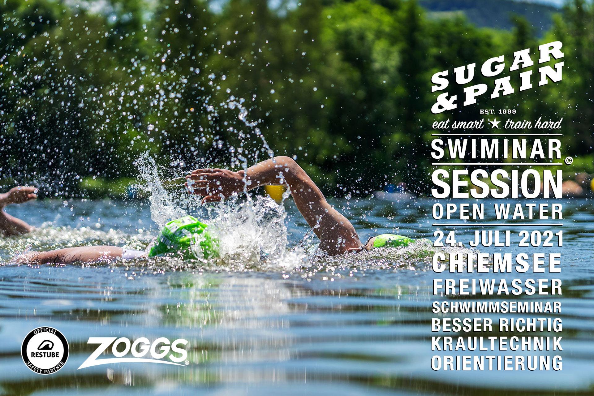 SWIMINAR #SESSION OPEN WATER Schneller Kraulschwimmen im Freiwasser / Titel © SUGAR & PAIN / AdobeStock