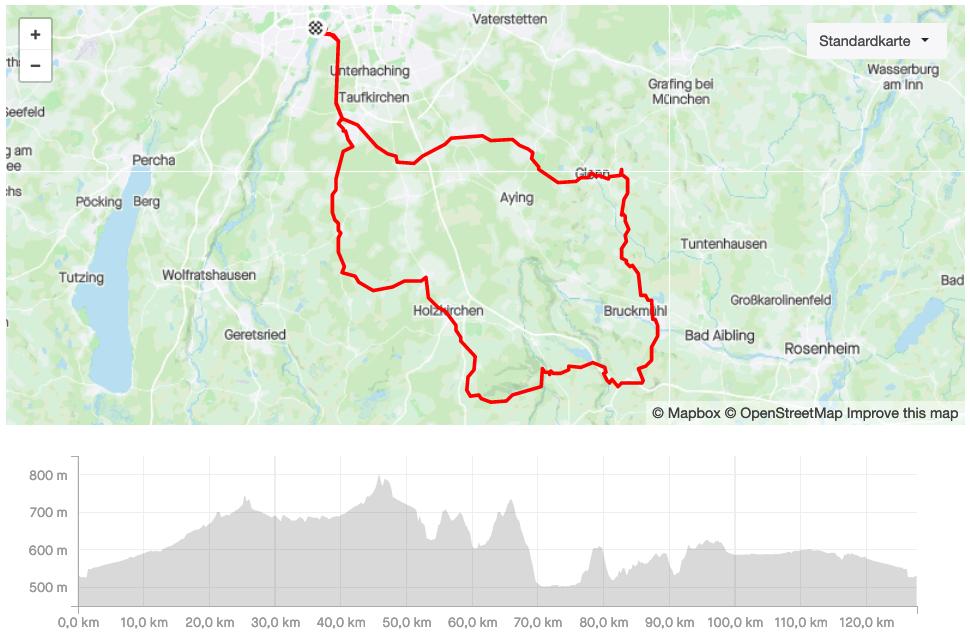 NICOLA WERNER CHALLENGE N°6 München 2021 Quer durchs bayerische Oberland (grosse Runde) mit Irschenberg, Hermannsdorf Landkarte © STRAVA / SUGAR & PAIN